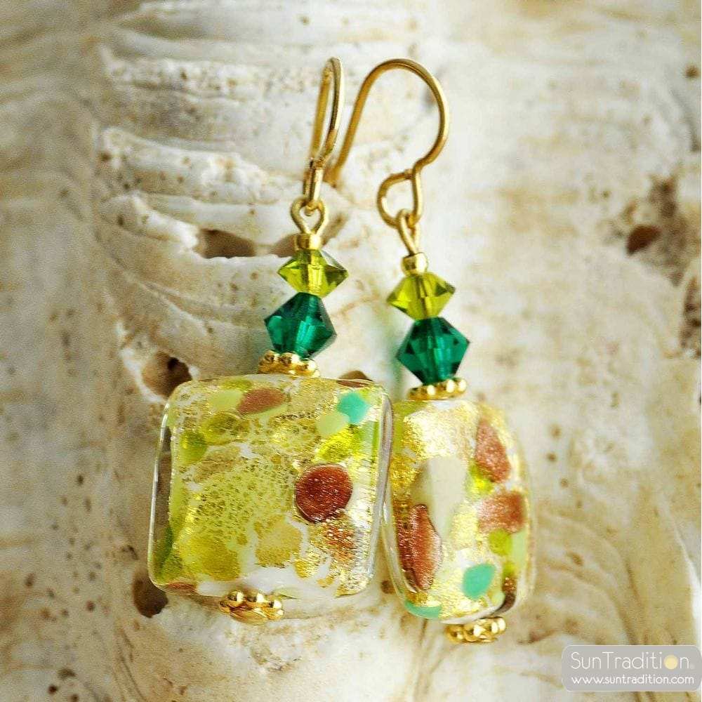 EARRINGS GREEN QUADRIFOGLIO MURANO GLASS OF VENICE