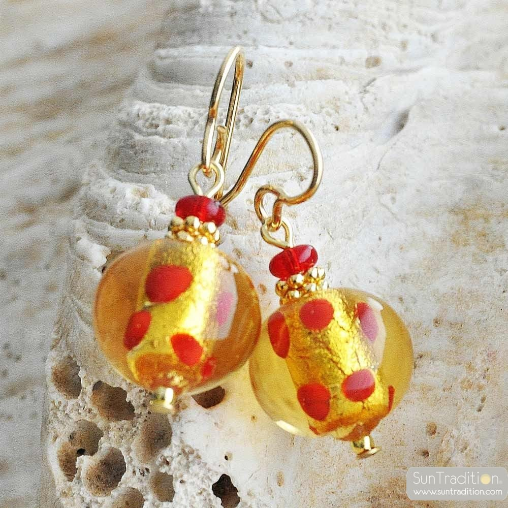 RED MURANO GLASS EARRINGS MIX RED PEAS