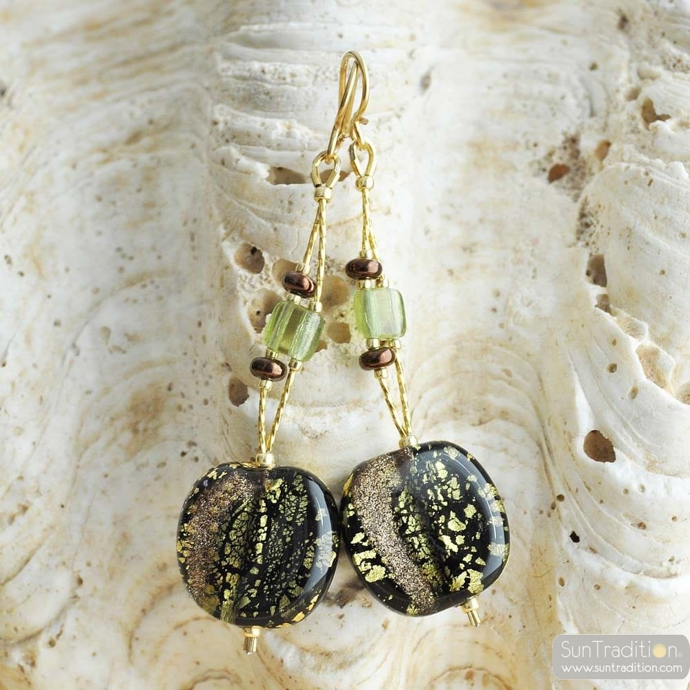 GREEN MURANO GLASS EARRINGS FROM VENICE DOPPIO FILO GEMMA