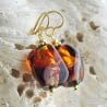 RED MURANO GLASS EARRINGS SASSO BICOLOR