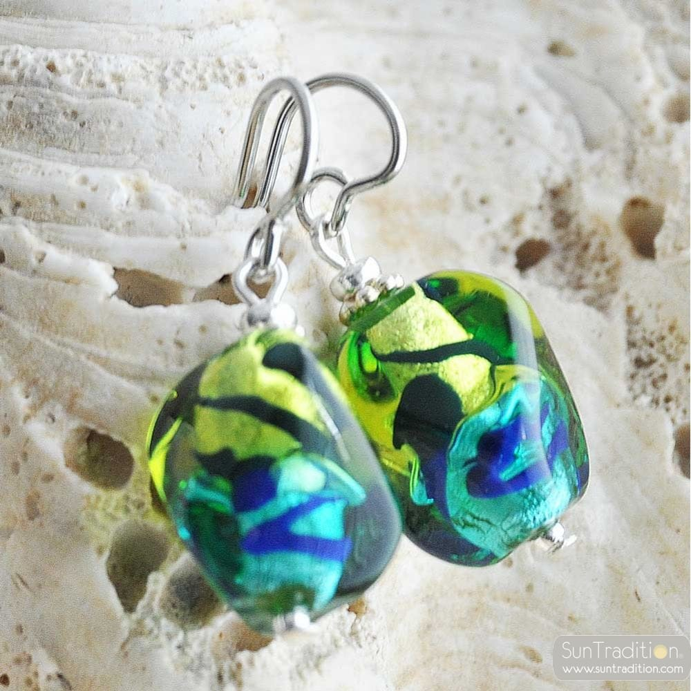 GREEN AND BLUE MURANO GLASS EARRINGS SASSO BICOLOR
