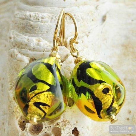 GREEN AND AMBER MURANO GLASS EARRINGS