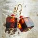 CUBE TWEE TOON ORANJE - OORBELLEN VAN MURANO GLAS AMBER EN ROOD