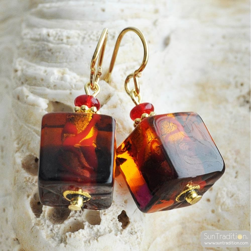 RED AND AMBER MURANO GLASS EARRINGS CUBE BICOLOR