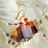 RED AND AMBER MURANO GLASS EARRINGS SASSO BICOLOR