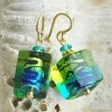 GREEN AND BLUE MURANO GLASS EARRINGS CUBE BICOLOR