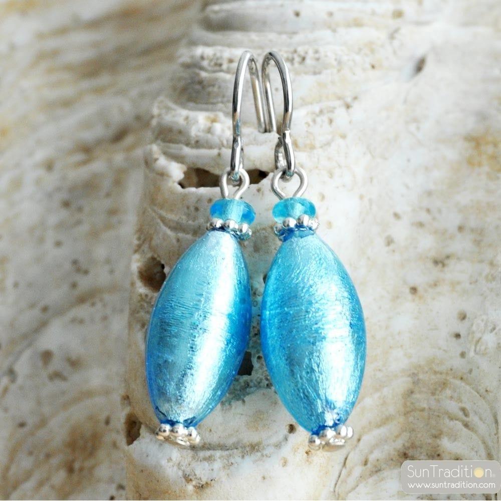 BLUE MURANO GLASS EARRINGS OLIVER