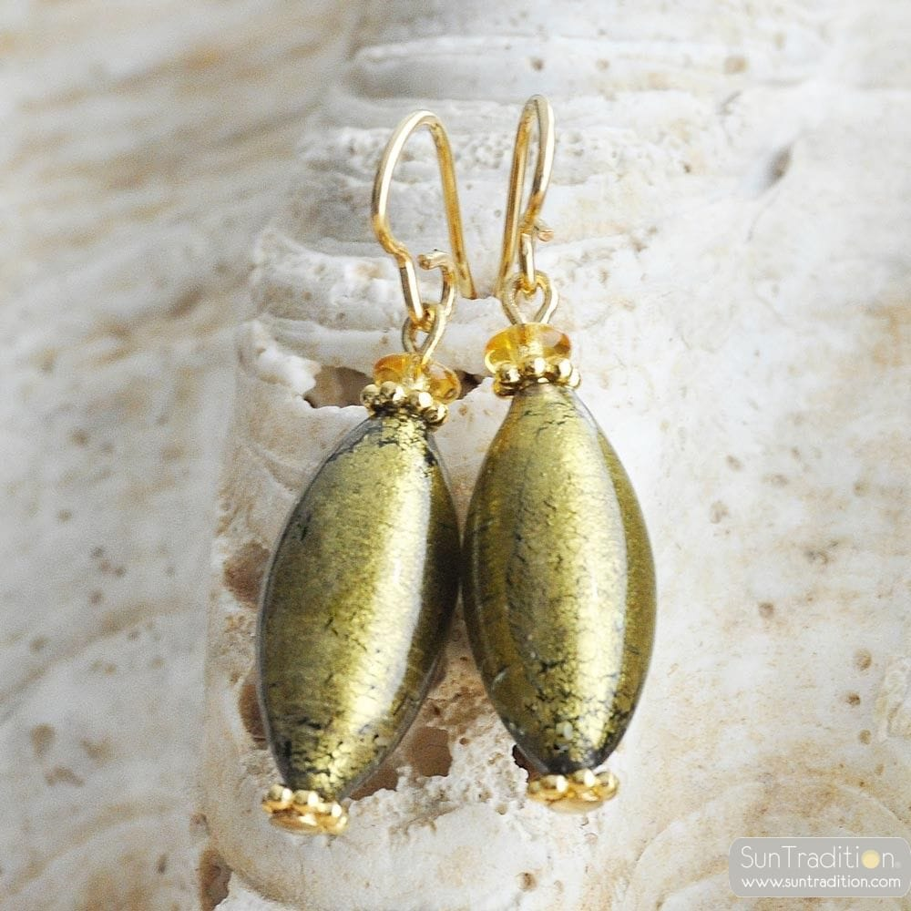 DARK GOLD MURANO GLASS EARRINGS