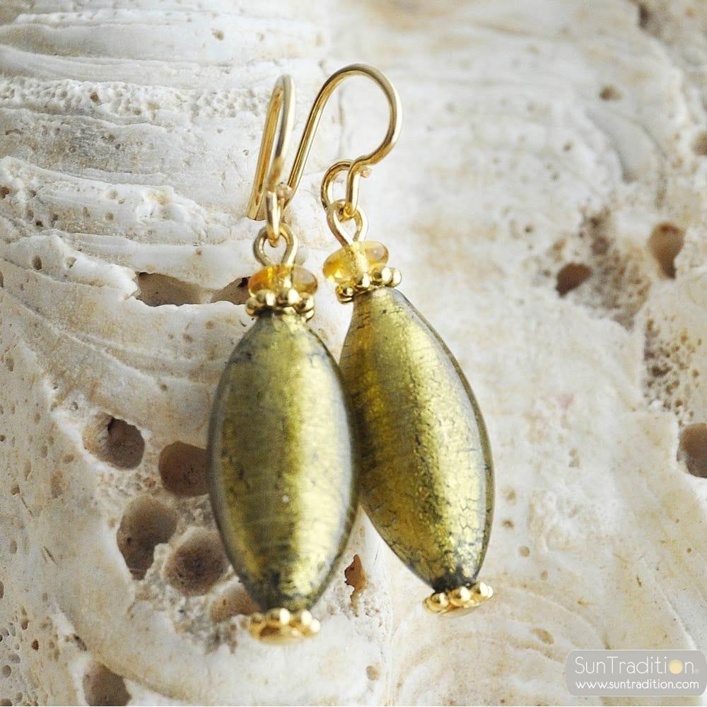DARK GOLD MURANO GLASS EARRINGS OLIVER