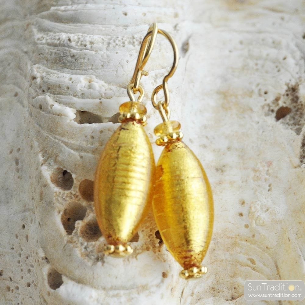 GOLD MURANO GLASS EARRINGS OLIVER