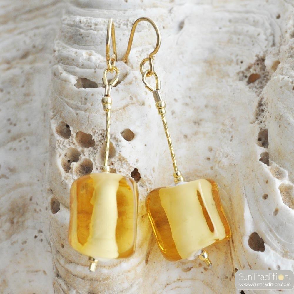 CUBO SCIOGLIENDO GOLD - OHRHANGER GLAS CUBO GOLD AUS ECHTEM MURANOGLAS AUS VENEDIG