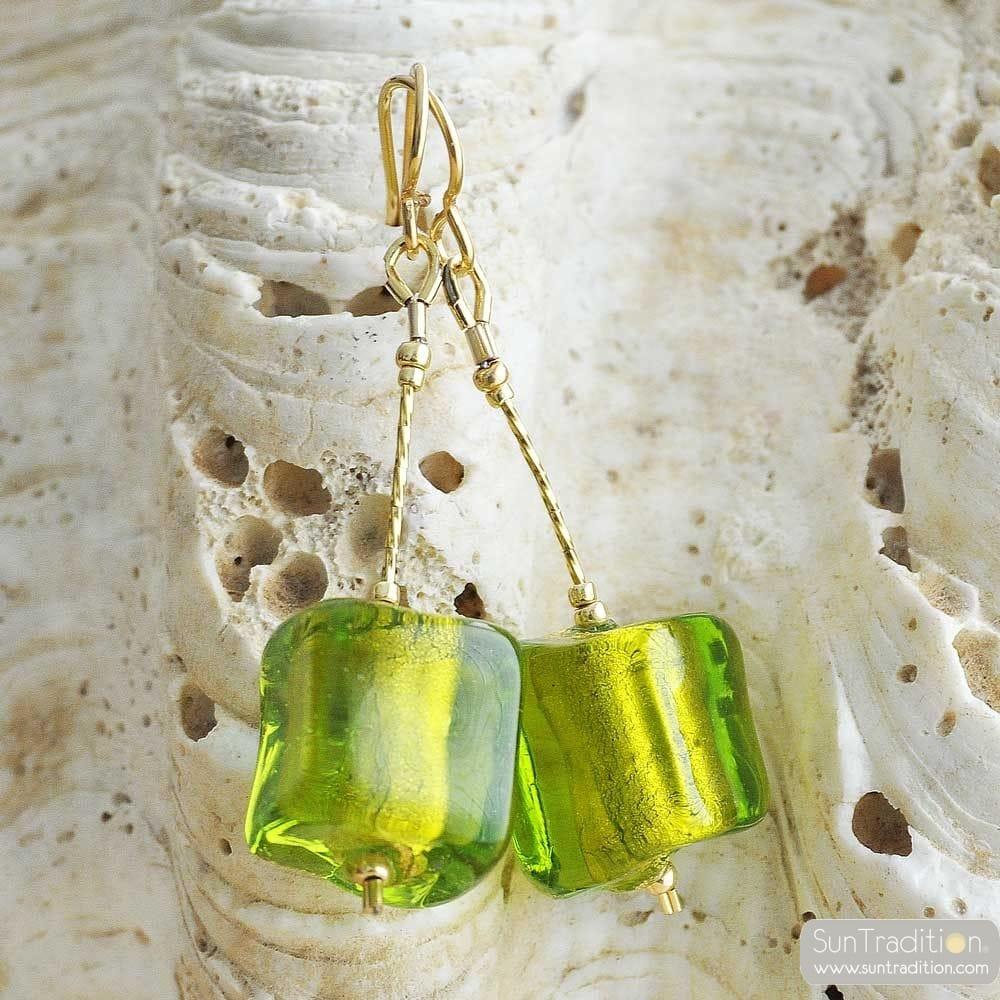 CUBO SCIOGLIENDO GREEN - GREEN MURANO GLASS DROP EARRINGS MURANO OF VENICE