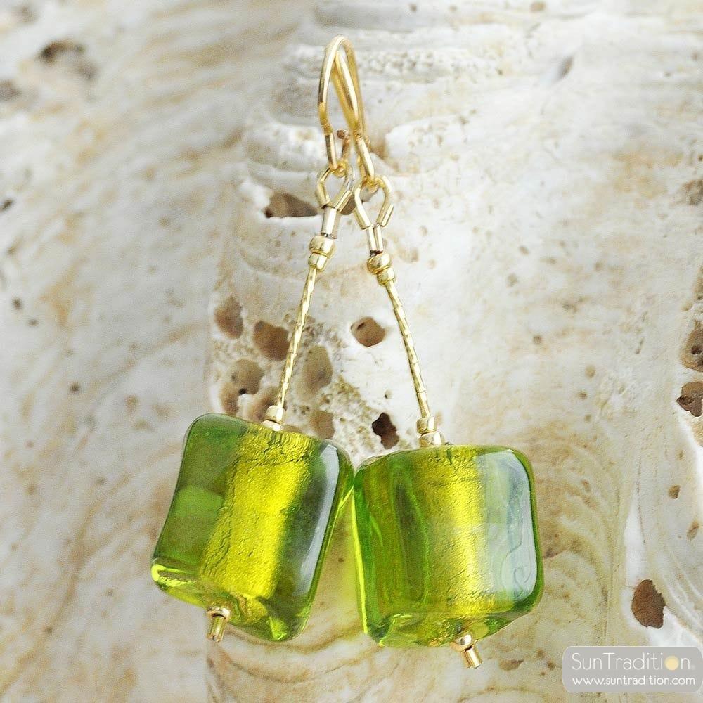 GREEN EARRINGS CUBO SCIOGLIENDO MURANO GLASS OF VENICE