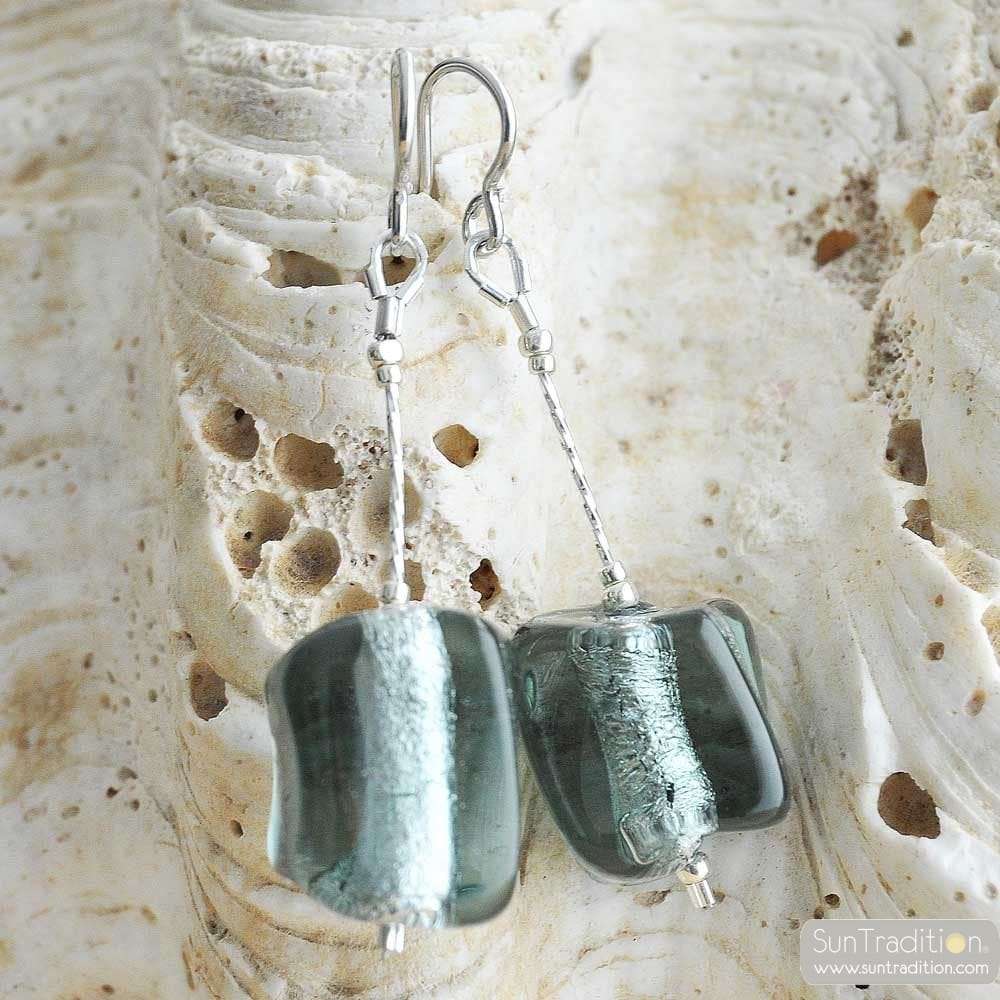 GREY EARRINGS CUBO SCIOGLIENDO MURANO GLASS OF VENICE