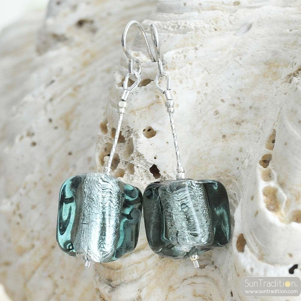 GREY EARRINGS CUBO SCIOGLIENDO MURANO GLASS OF VENICE