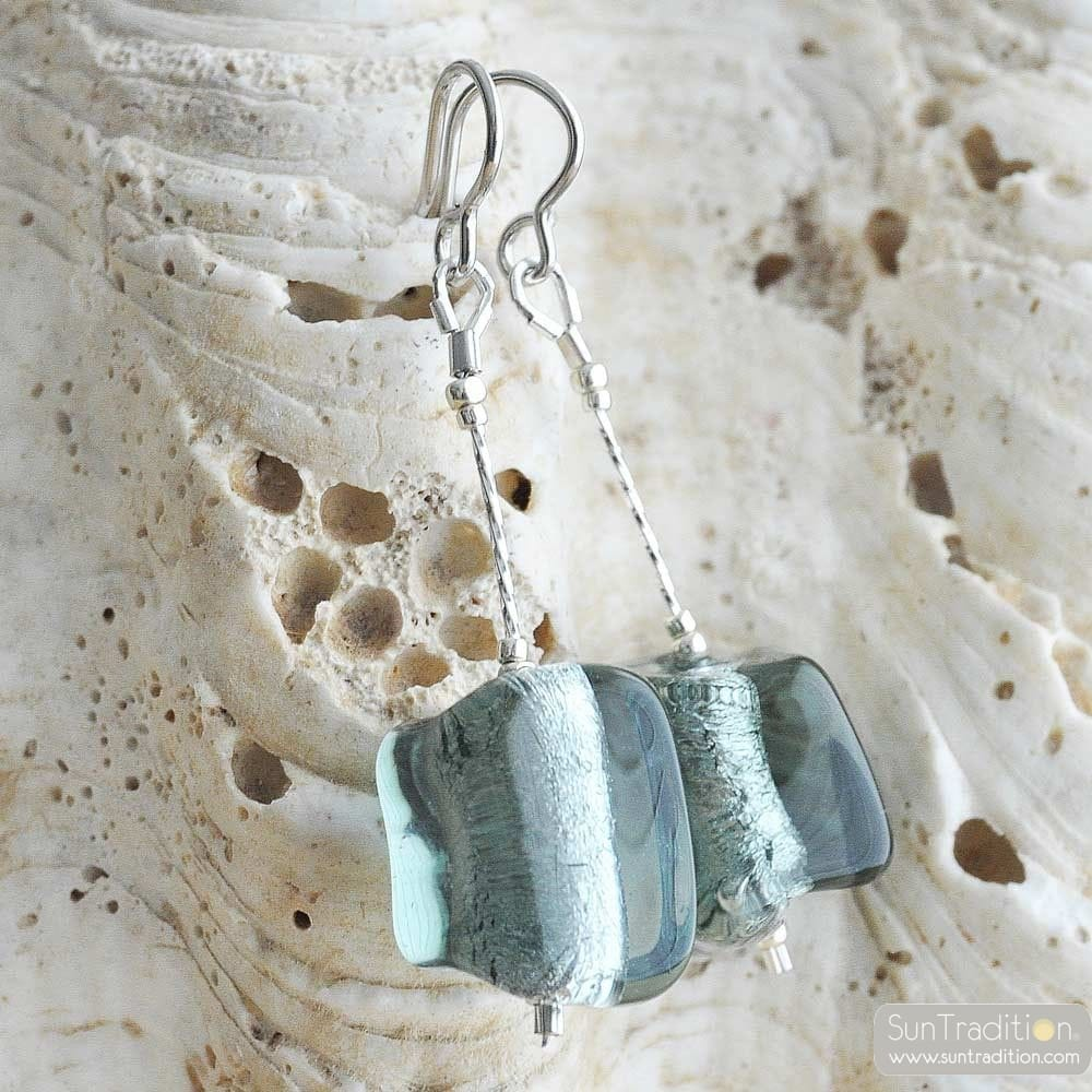 GREY MURANO GLASS EARRINGS
