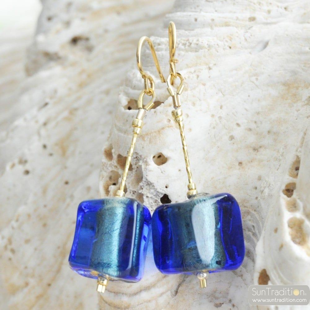 CUBO SCIOGLIENDO BLUE - BLUE MURANO GLASS DROP EARRINGS GLASS OF VENICE