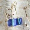BLUE MURANO GLASS EARRINGS CUBO SCIOGLIENDO MURANO GLASS OF VENICE