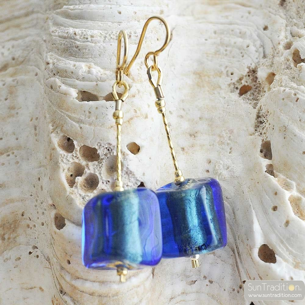 BLUE MURANO GLASS EARRINGS CUBO SCIOGLIENDO MURANO GLASS OF VENICE