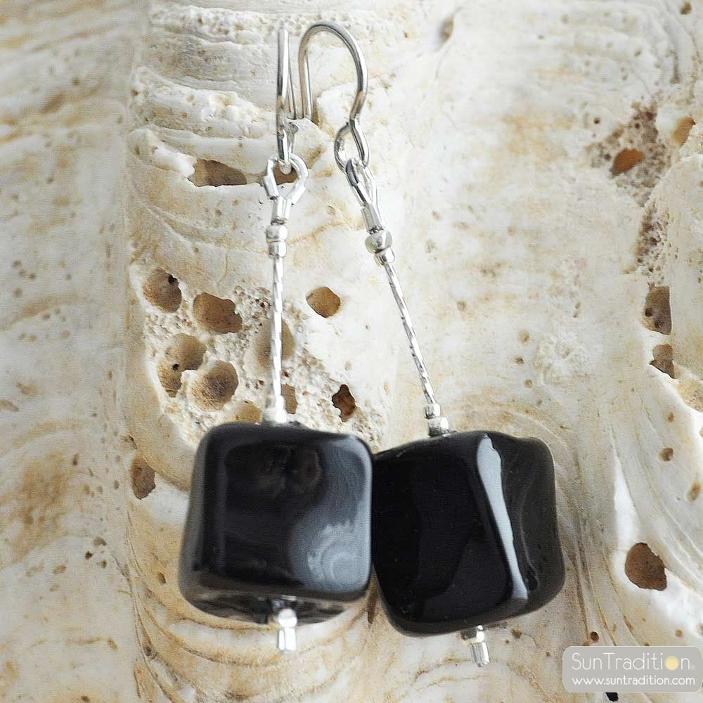 CUBO SCIOGLIENDO BLACK - BLACK MURANO GLASS DROP EARRINGS MURANO OF VENICE