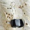 BLACK MURANO GLASS EARRINGS CUBO SCIOGLIENDO MURANO GLASS OF VENICE