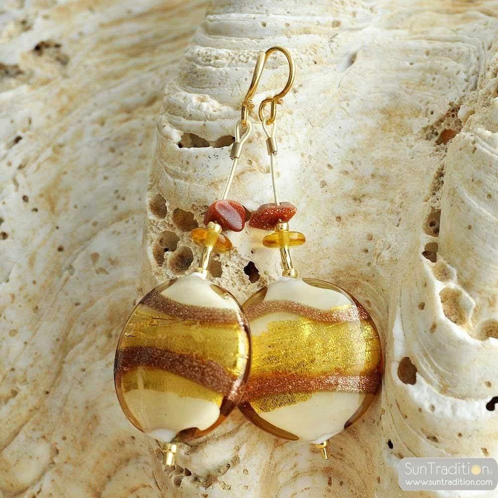 CARAMEL PANNA - GOLD MURANO GLASS DROP EARRINGS GENUINE VENICE MURANO GLASS