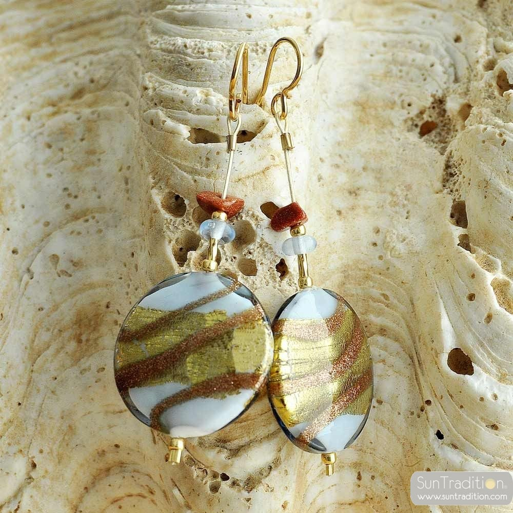 BLUE MURANO GLASS EARRINGS FROM VENICE CARAMEL PERVINCA