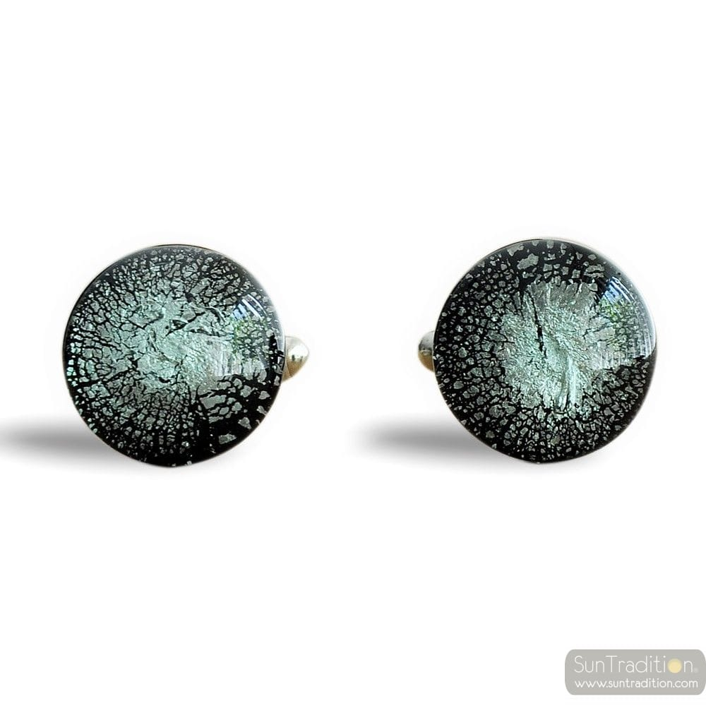 ROUND GREY SILVER CUFFLINKS IN REAL MURANO GLASS VENICE