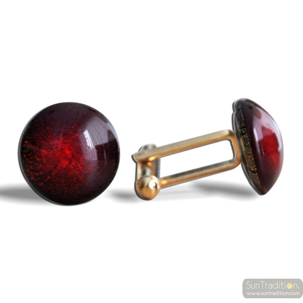 ROUND RED CRACKLE CUFFLINKS IN REAL MURANO GLASS VENICE