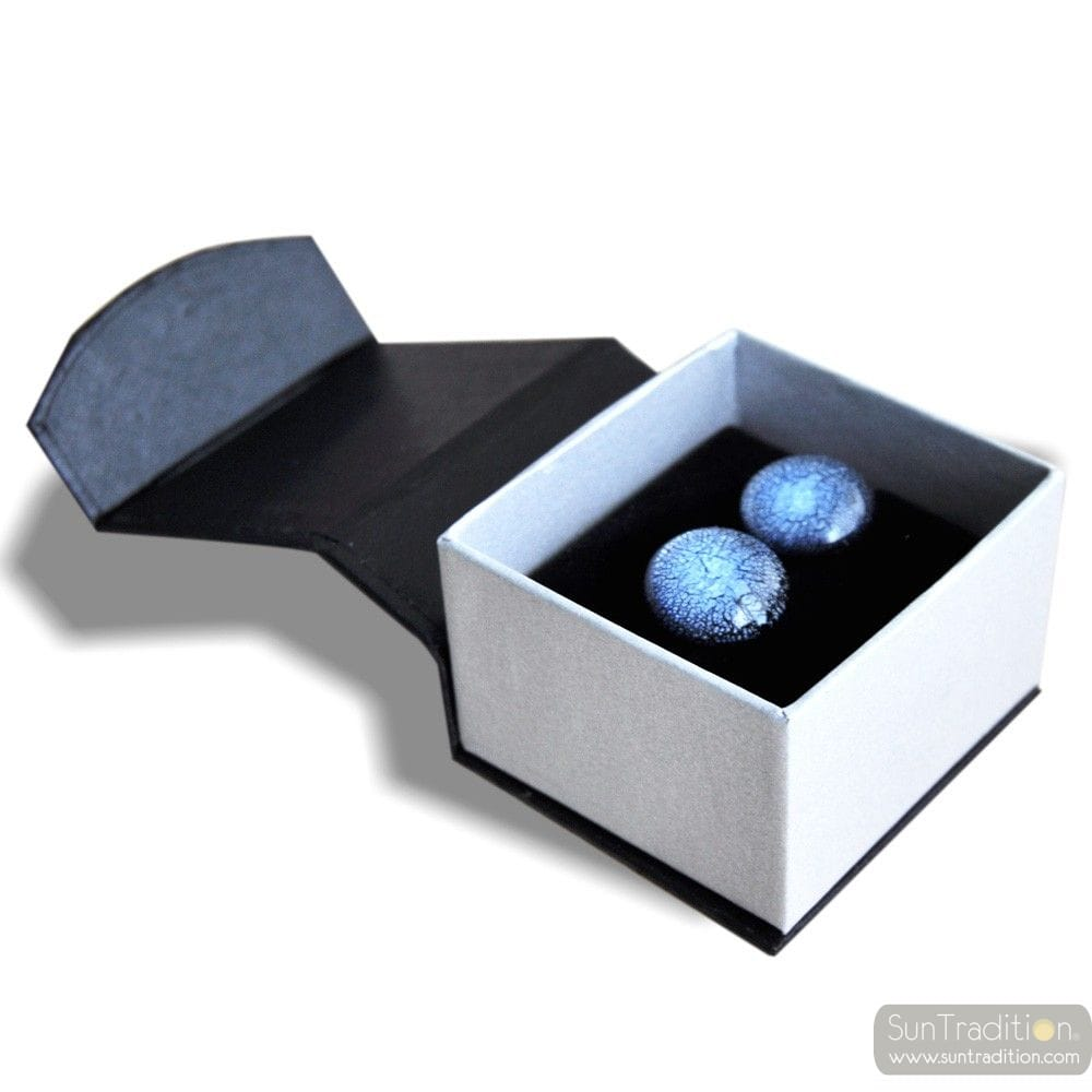 BLUE MURANO GLASS CUFFLINKS IN REAL MURANO GLASS VENICE