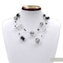 Jo-jo silver and black long - Long Silver and black Murano glass collar real jewel of venice Italy