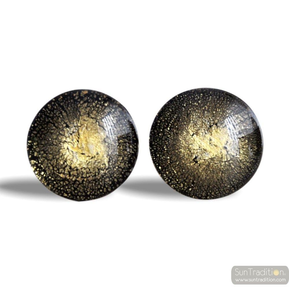 ROUND GOLD MURANO GLASS CUFFLINKS IN REAL MURANO GLASS VENICE