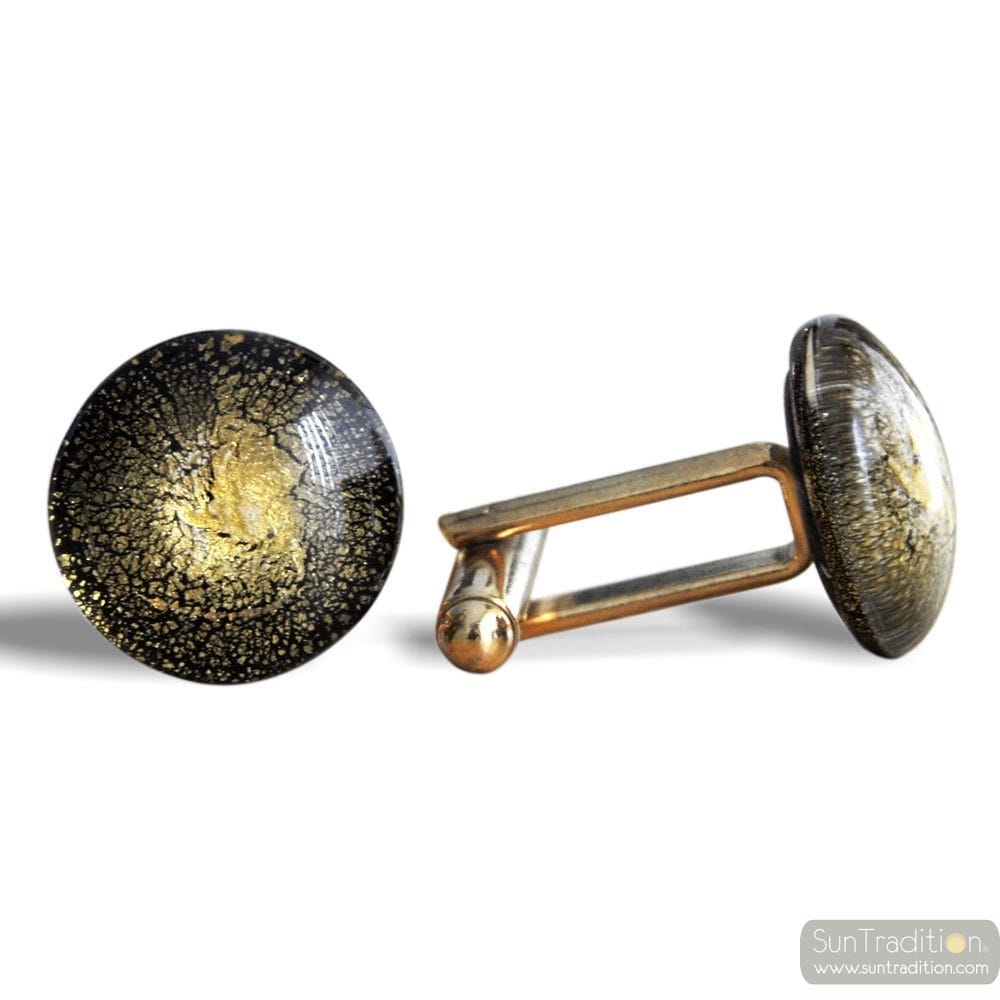 ROUND GOLD - GOLD MURANO GLASS CUFFLINKS IN REAL VENITIAN GLASS