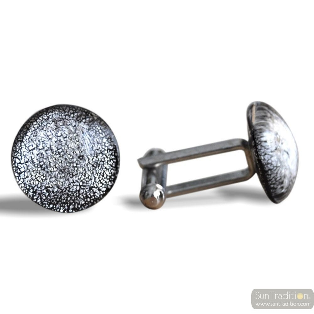 ROUND SILVER - SILVER MURANO GLASS CUFFLINKS IN REAL VENITIAN GLASS