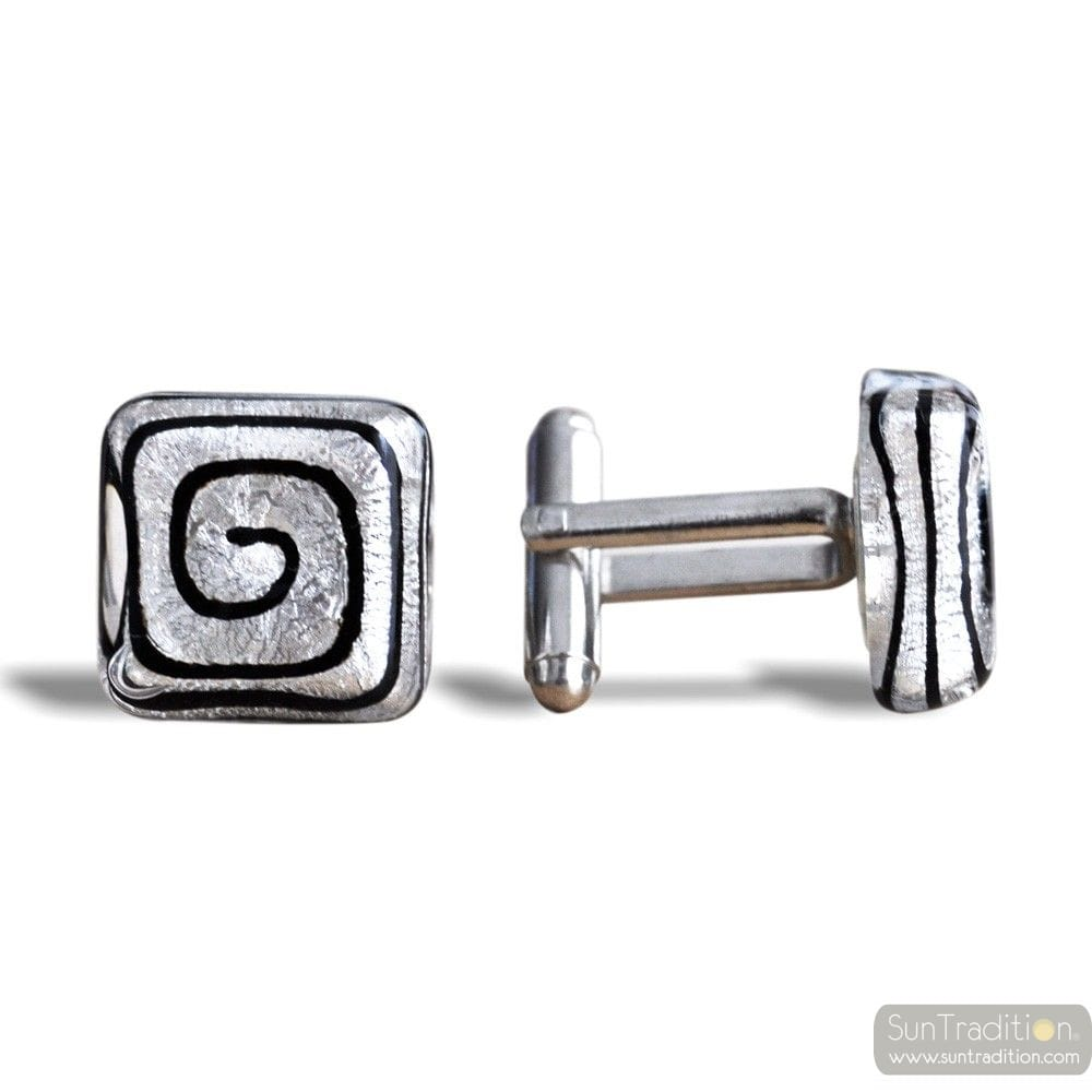 SPIRAL SILVER - SILVER MURANO GLASS CUFFLINKS IN REAL VENITIAN GLASS