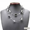 silver black Venetian glass jewellry necklaces
