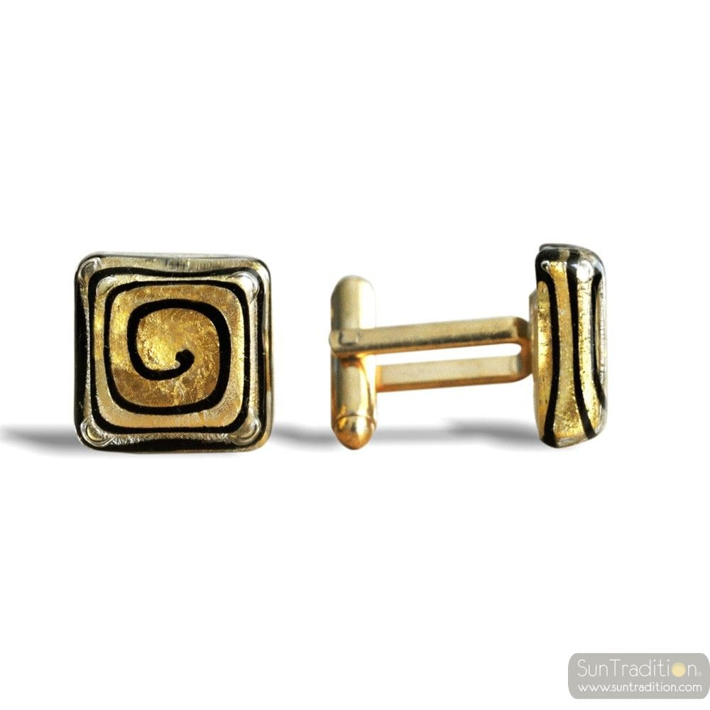 SPIRAL GOLD CUFFLINKS IN REAL MURANO GLASS VENICE
