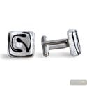 ZIG- ZAG SILVER CUFFLINKS IN REAL MURANO GLASS VENICE