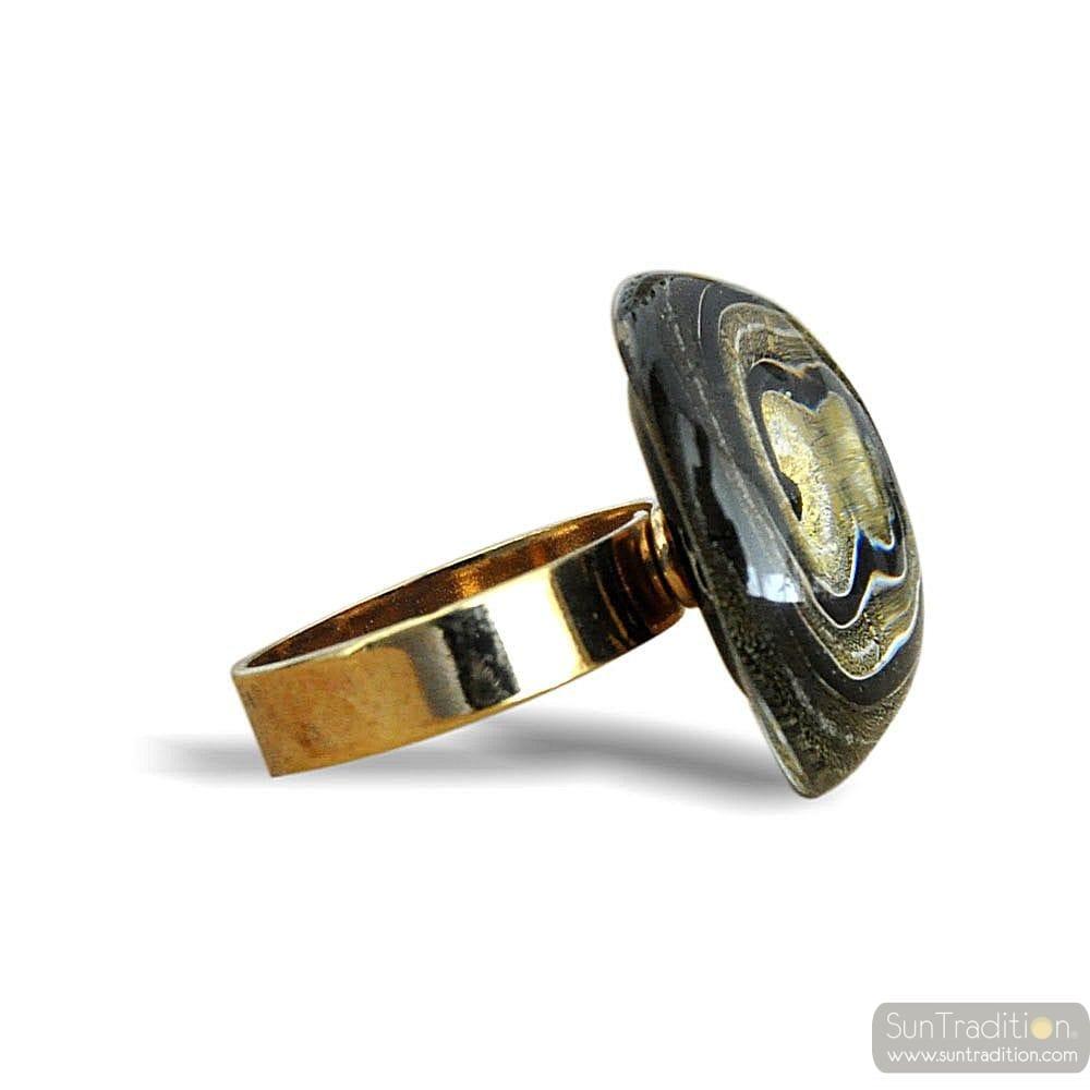 Anillo de cristal de murano negro y oro espiral - Anillo cristal murano ...