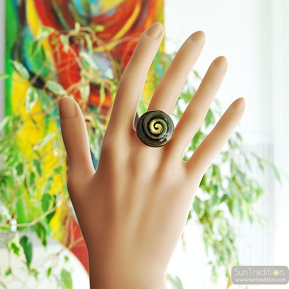 RING I MURANO-GLAS, SVART OCH GULD COLIMACON