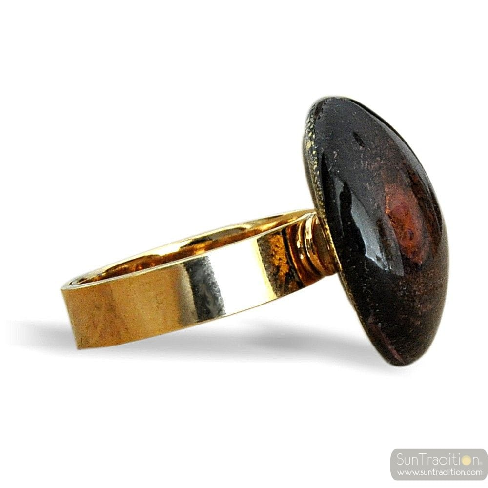 BLACK AND GOLD SPIRAL RING GLASS MURANO