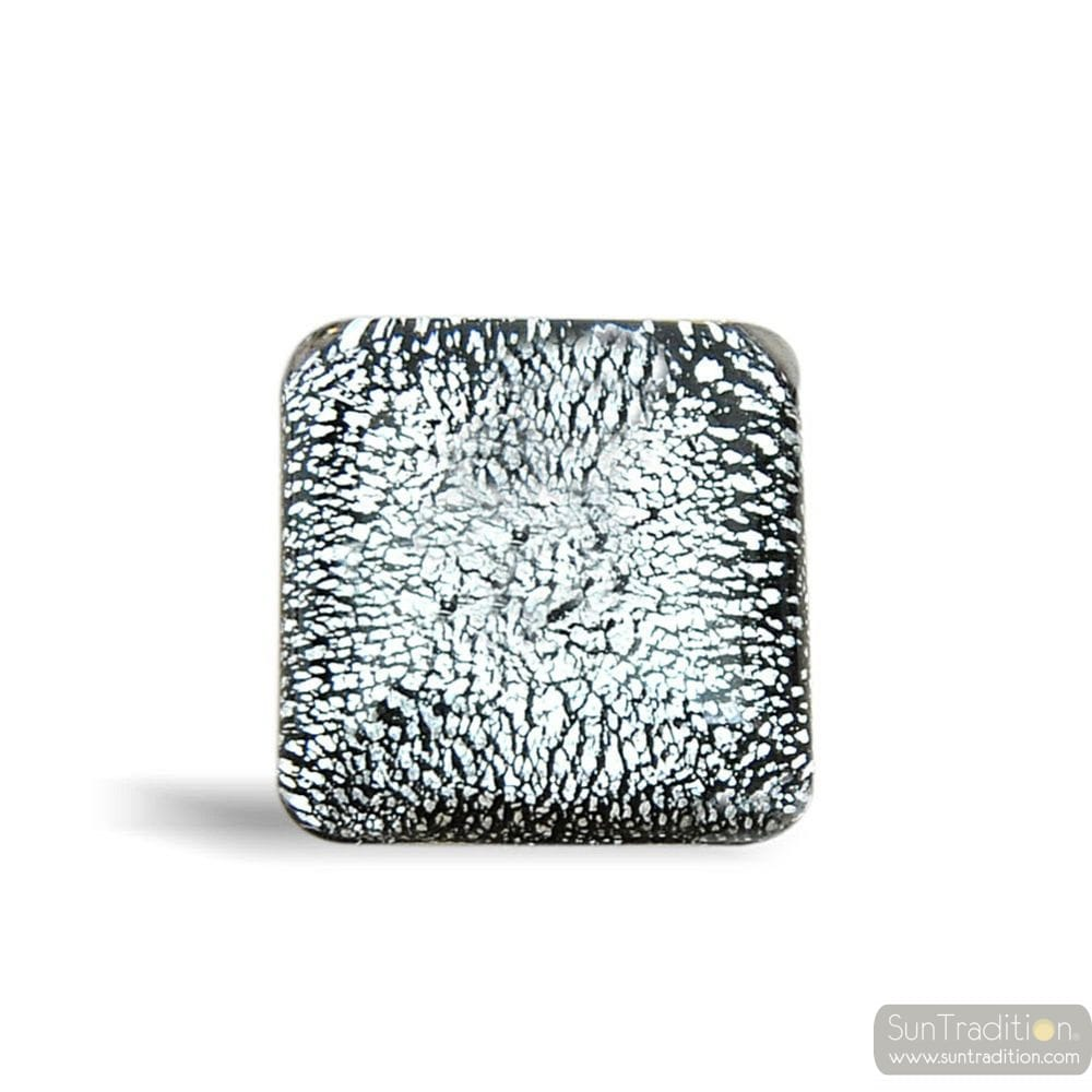 BLACK AND SILVER SQUARE RING OF MURANO