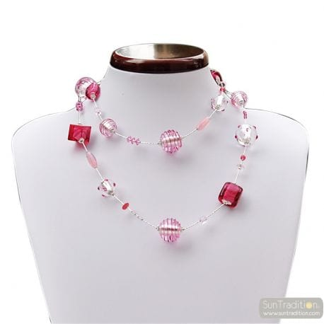 PINK MURANO GLASS NECKLACE