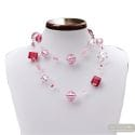 Jo-jo pink silver long - Long pink silver ball Murano glass necklace genuine italian jewellry Venice