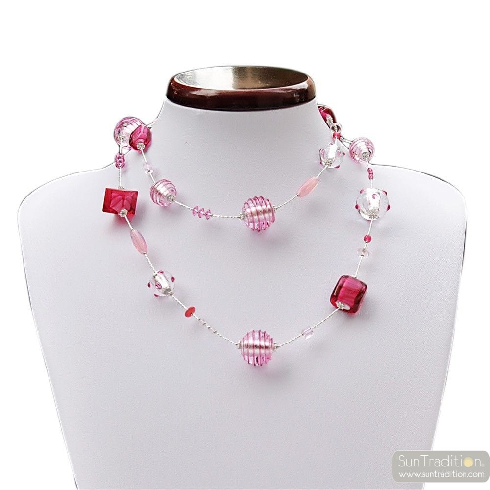 NECKLACE MURANO GLASS PINK AND SILVER GLASS FROM VENICE