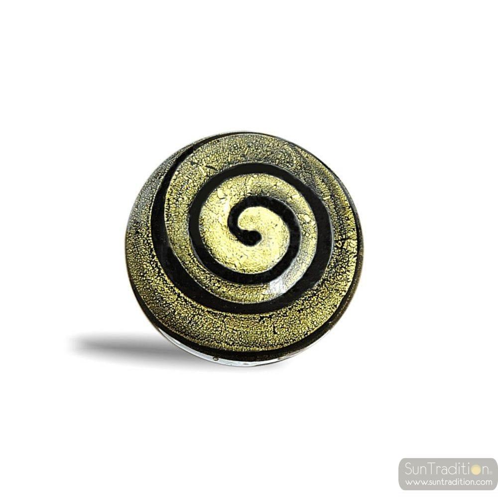 Anillo negro y oro espiral de cristal de murano - Anillo cristal murano ...