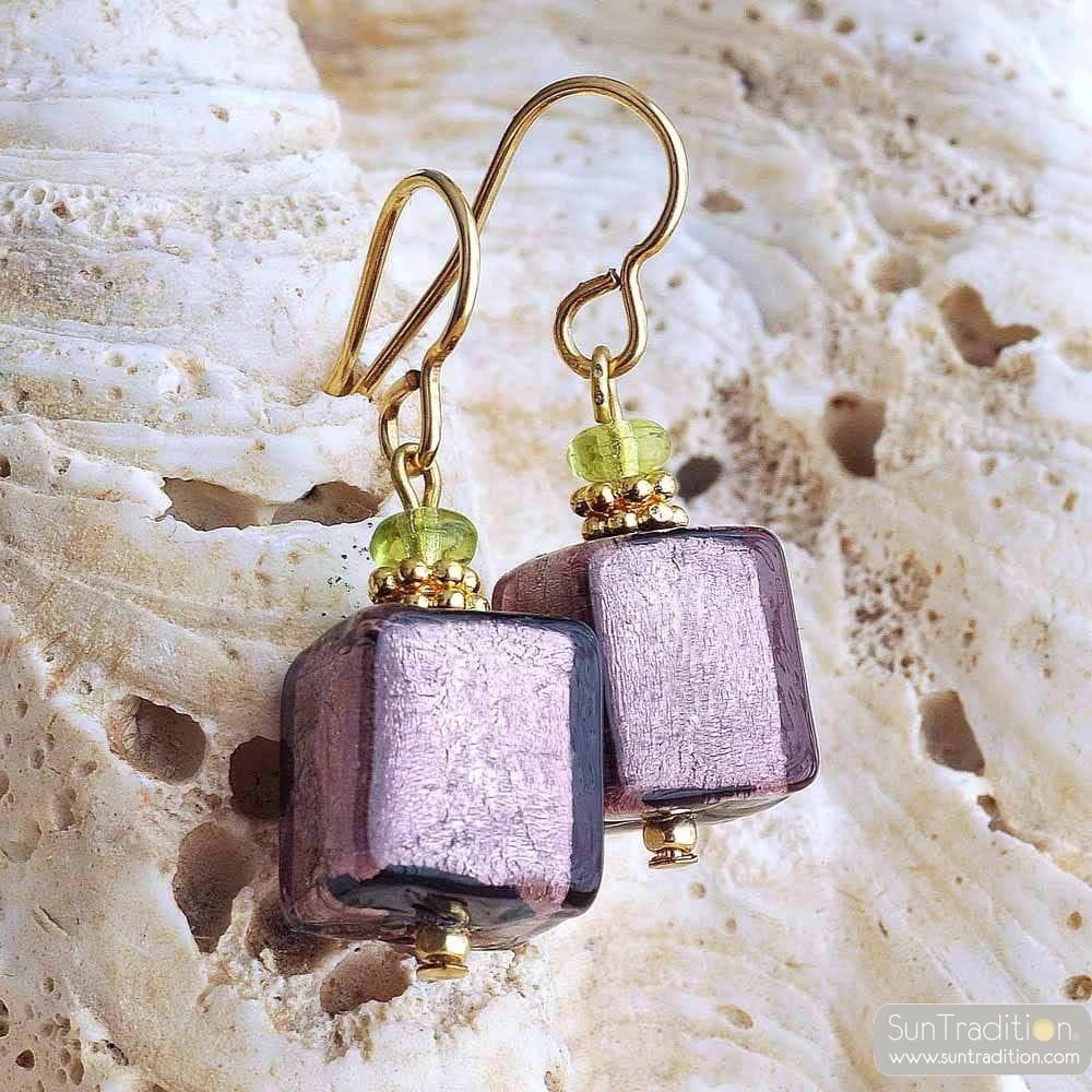 AMERICA PARMA AND GOLD EARRINGS GENUINE MURANO GLASS VENICE