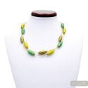 GREEN AN GOLD MURANO GLASS NECKLACE OLIVER IN REAL VENITIAN GLASS