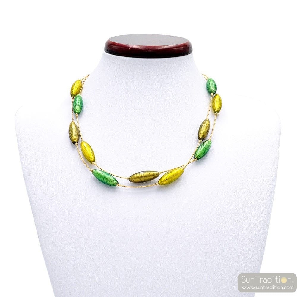 NECKLACE GENUINE MURANO GLASS GREEN AND GOLD