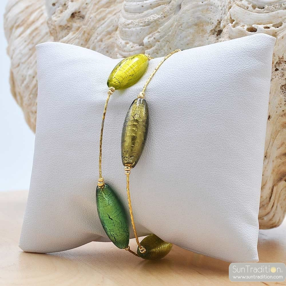 GREEN AND GOLD BRACELET OLIVER IN TRUE MURANO GLASS